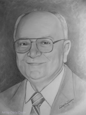 pencil drawing from photo older man with glasses