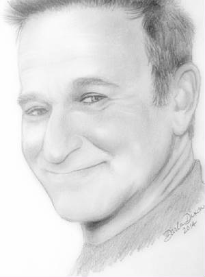 pencil drawing of robin williams actor