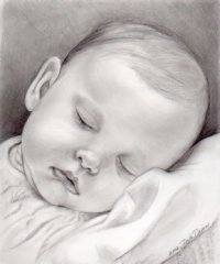 Newborn baby portrait of a sleeping baby girl