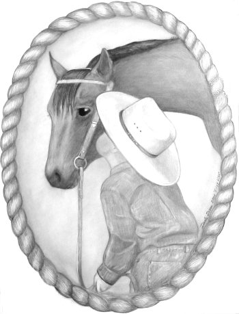 boy western art rope horse kiss drawing