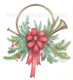french horn pencil holly christmas berries art