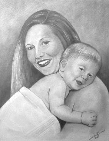 mom and baby portrait graphite pencil drawing