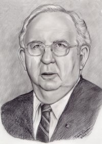 older gentleman with eyeglasses drawn in pencil